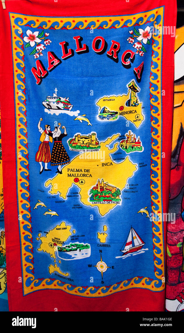 Map Of Mallorca And Minorca On Towel On Sale In Tourist Market – Spain Map Tourist