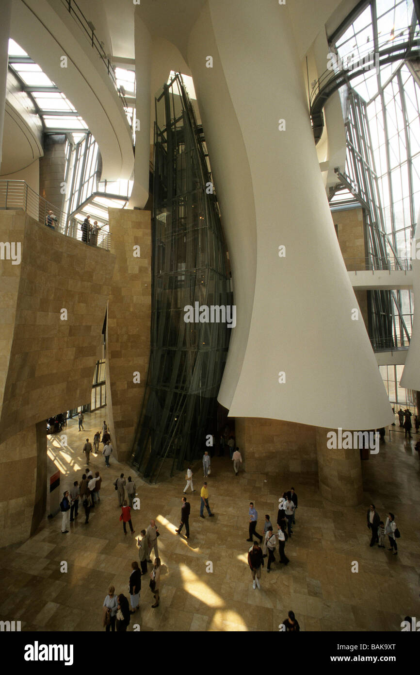 Spain Bilbao Inside The Famous Guggenheim Museum Showing The Glass Stock Photo Royalty Free