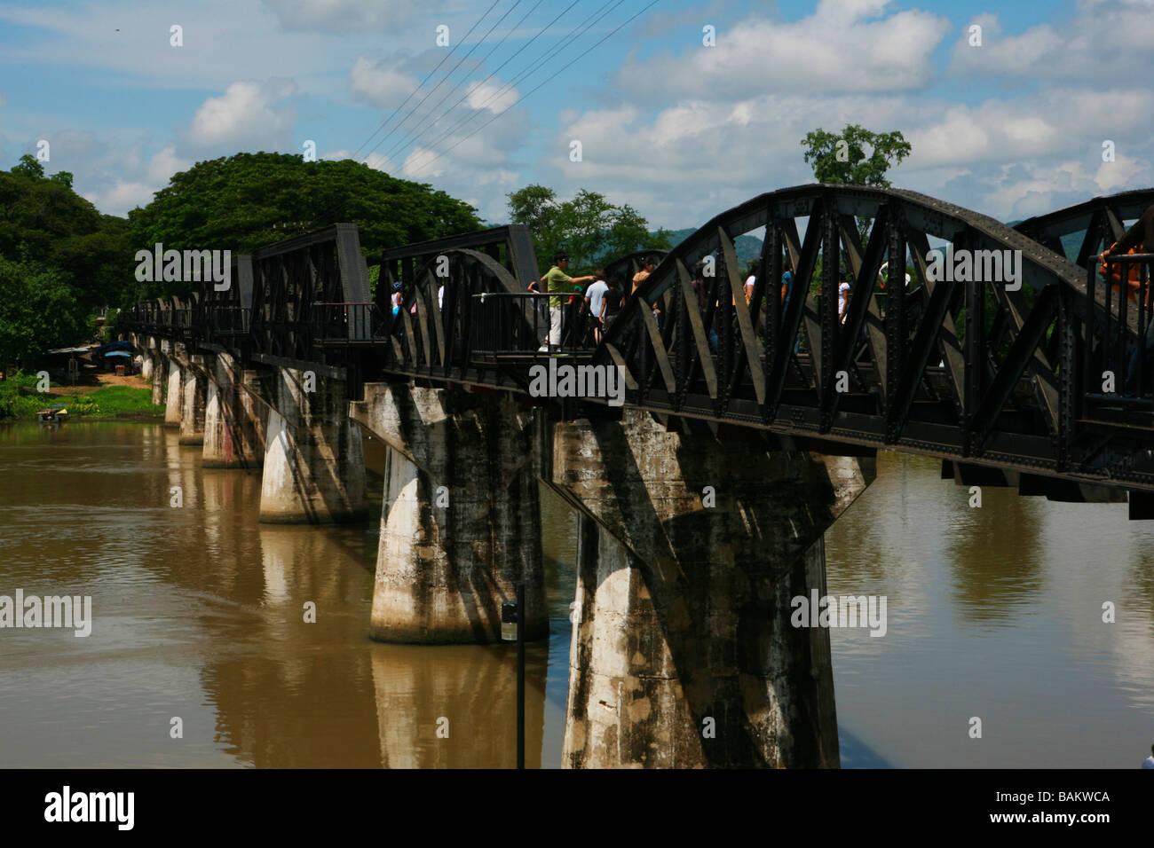 Bridge over the River Kwai, Kanchanaburi, Bangkok, Thailand Stock Photo, Roya...