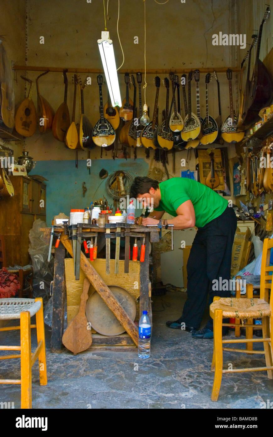 Guitar Repair Shop In Old Town Rethymno Crete Greece Europe Stock