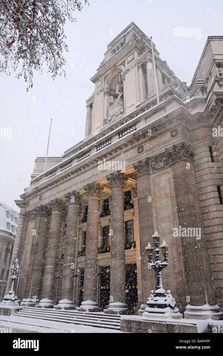 Snow Covered Trinity House Trinity Square Tower Hill City London England  Britain