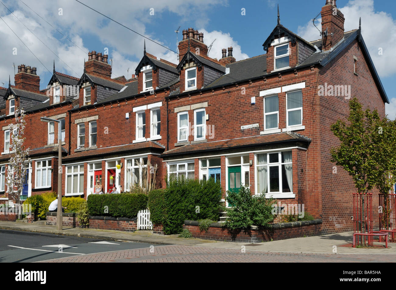 Victorian Red Brick Back To Working Class Terrace Houses With Bay And Dormer Windows Chapeltown Area Leeds West Yorkshire