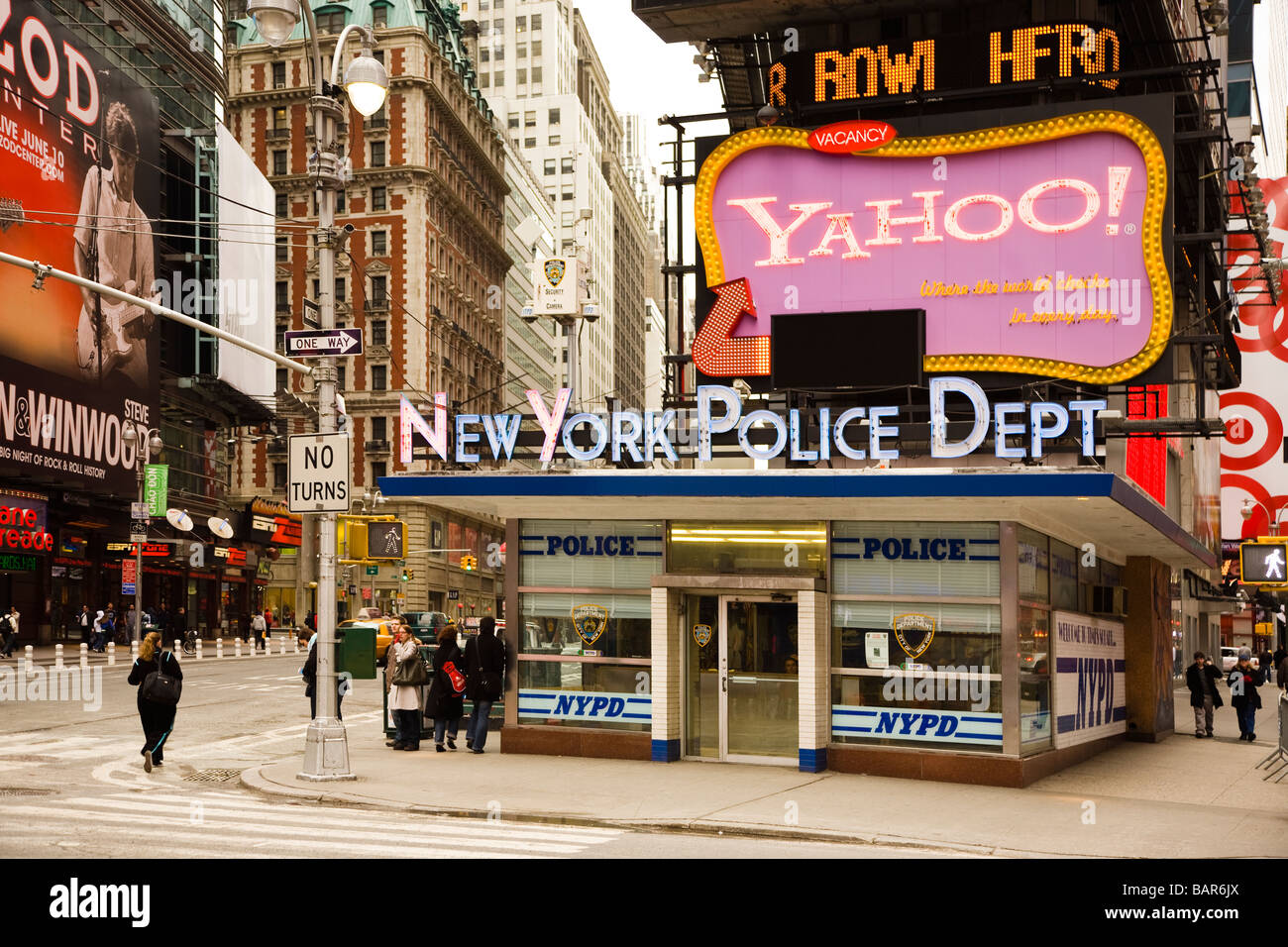 Nypd new york police department office in times square at broadway and 7th avenue new york city usa america