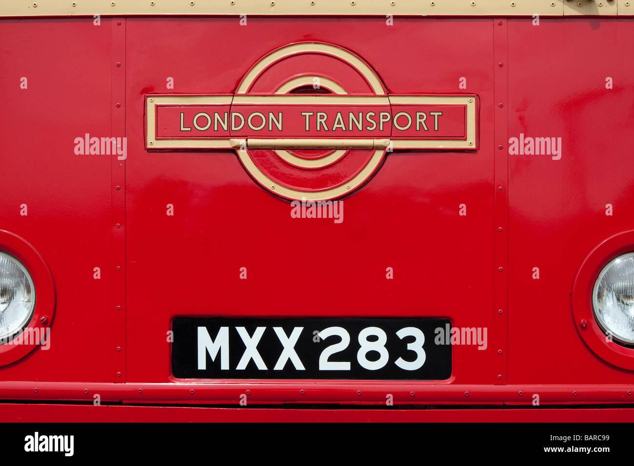 Old style London Transport emblem and registration plate on front ...