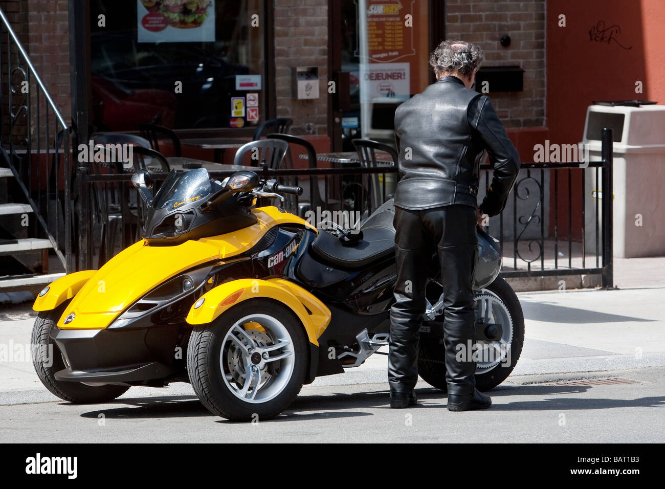 Brp can am spyder roadster is seen on avenue cartier in quebec city stock image