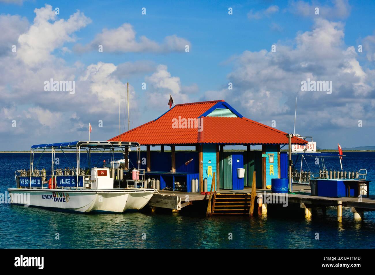 Dive boat at dock divi flamingo beach resort bonaire stock - Bonaire dive resorts ...
