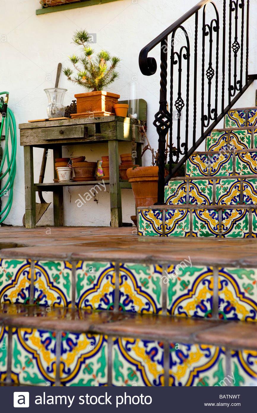 Spanish Tiled Stairs With Wrought