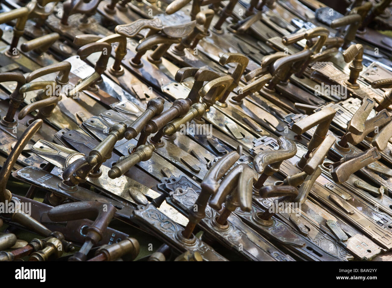 Old door handles for sale Stock Photo, Royalty Free Image ...