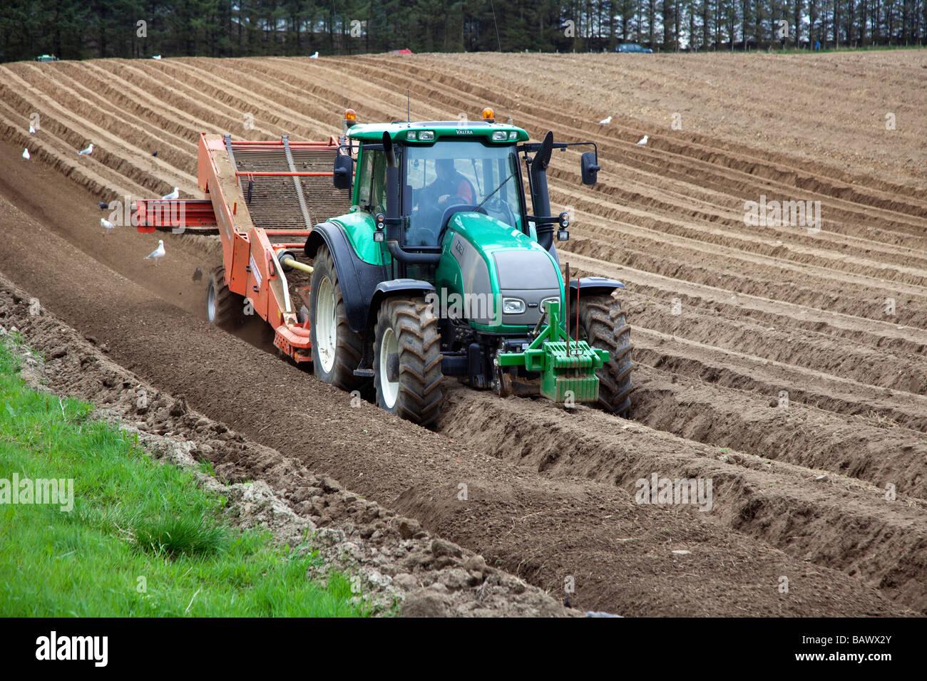 Preparing Potato Field With Valtra De Stoner Scottish Farming Industry Scotland Uk