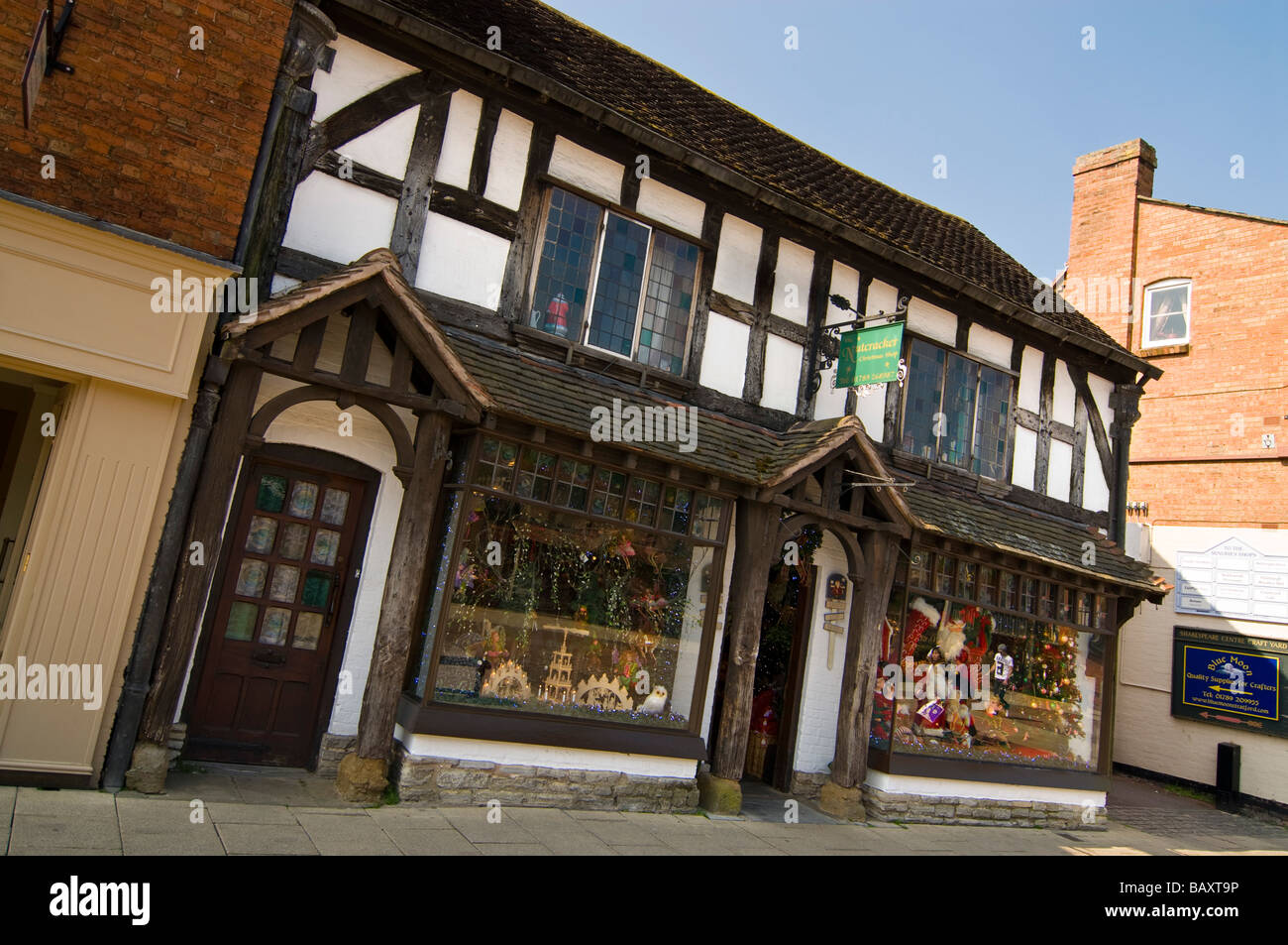 Tudor Facade horizontal wide angle of an old black and white tudor facade of a