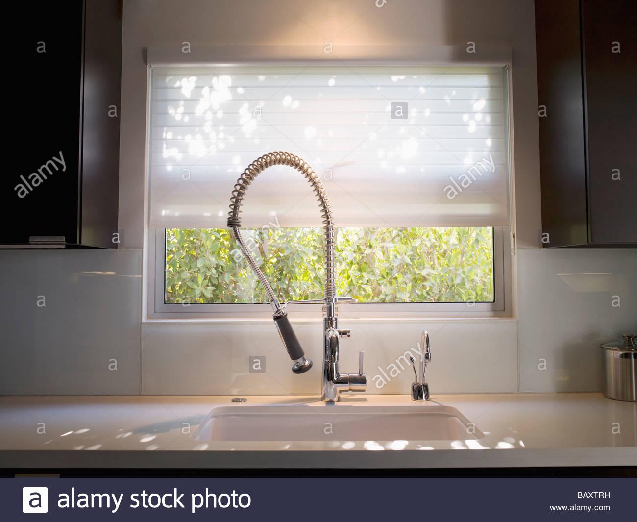 Interior Of Modern Kitchen And Spray Nozzle