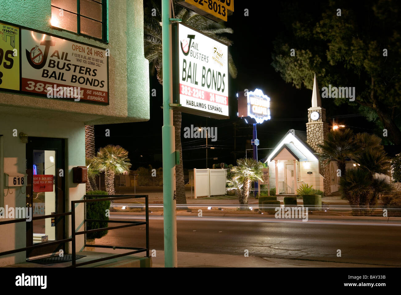 Las Vegas Boulevard The Strip Graceland Wedding Chapel And Jail Busters Downtown Nevada USA