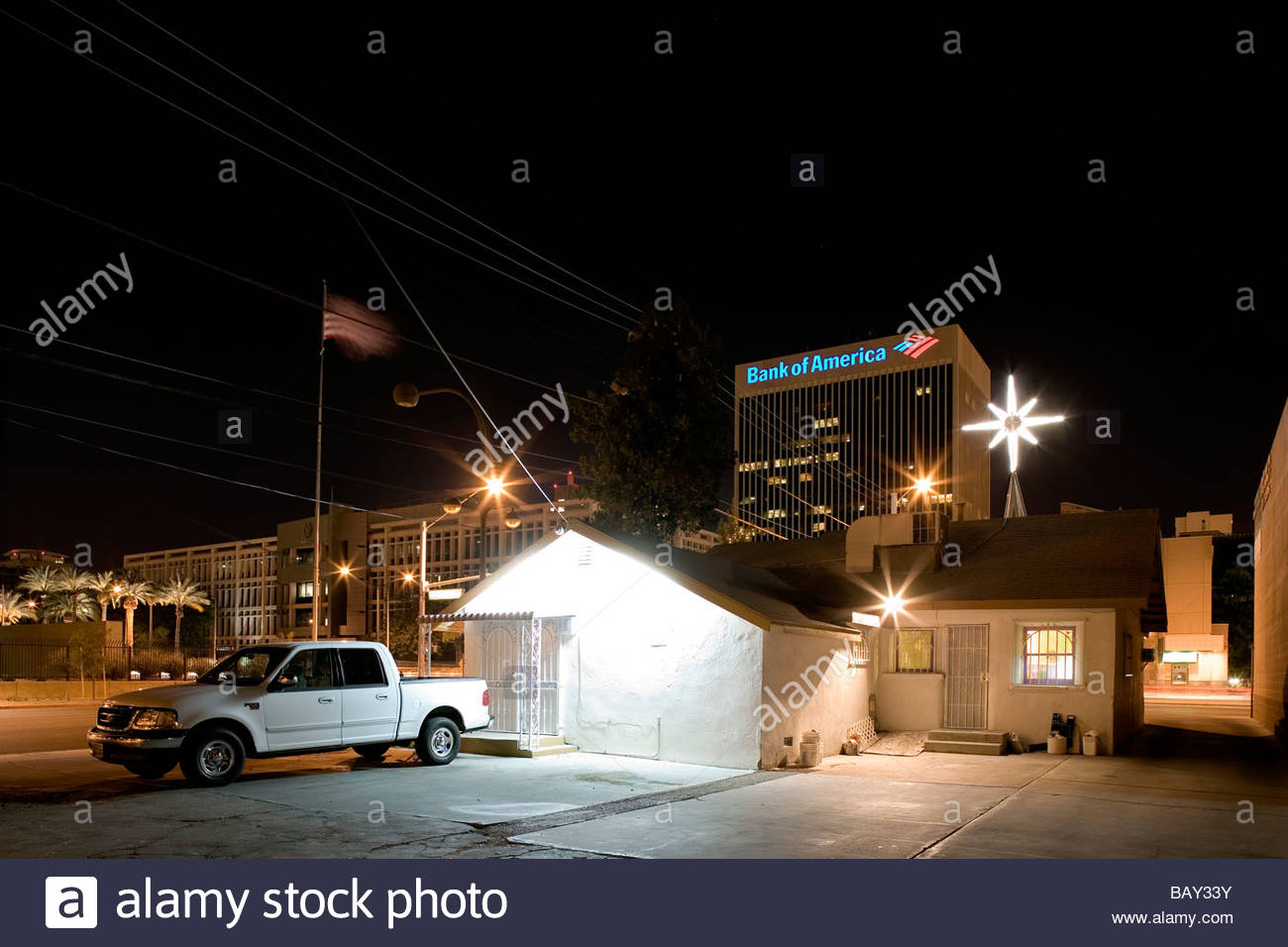 Wedding Chapel On Las Vegas Boulevard The Strip Bank Of America In Background Downtown Nevada USA