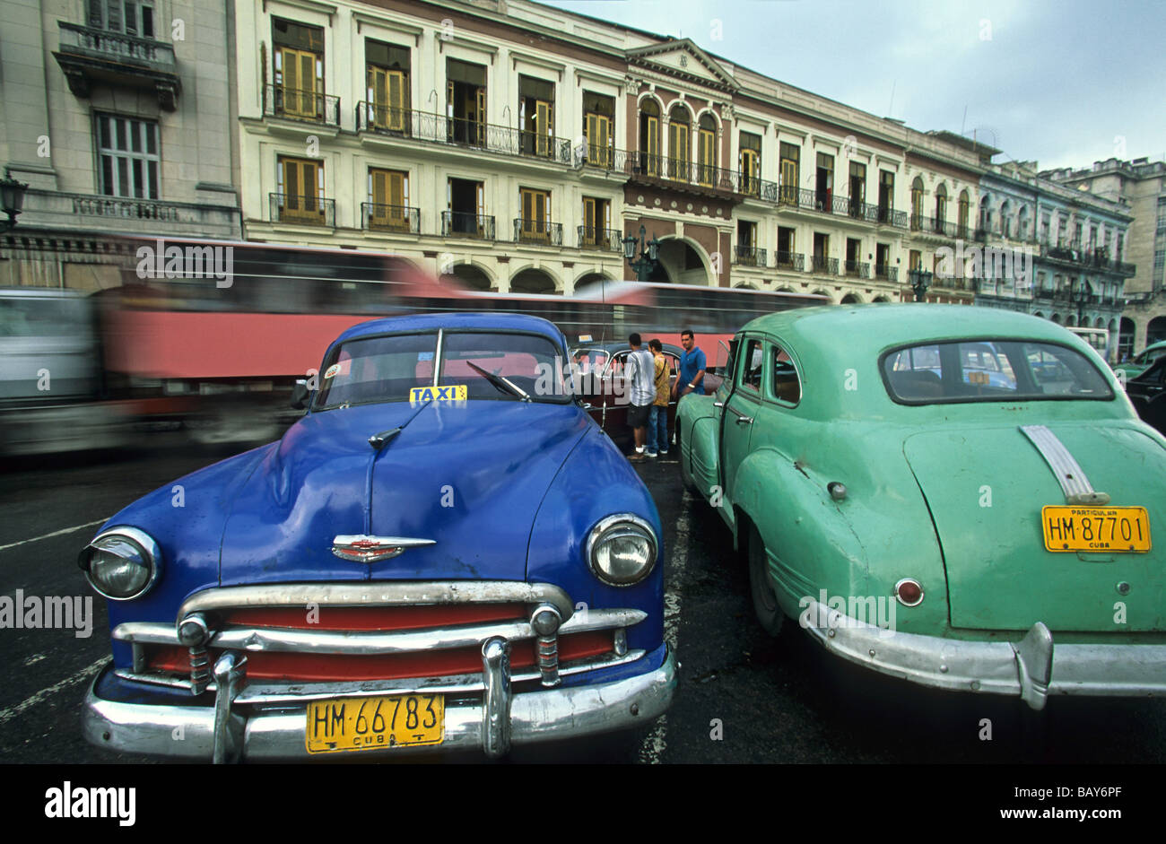 vintage cars used as Taxis, parked, Havana, Cuba Stock Photo ...