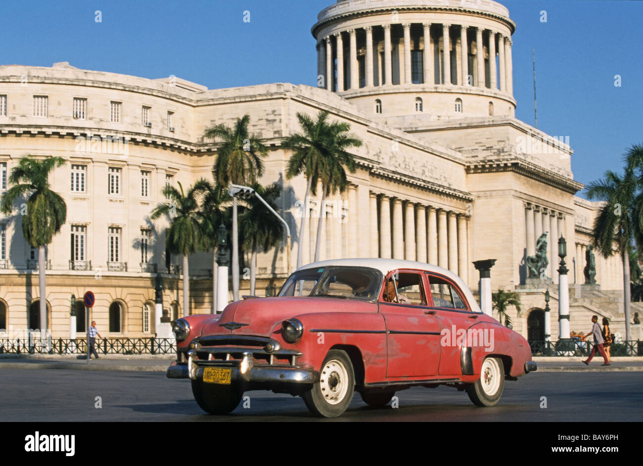vintage cars used as Taxis, in front of Capitolio, Havana, Cuba ...