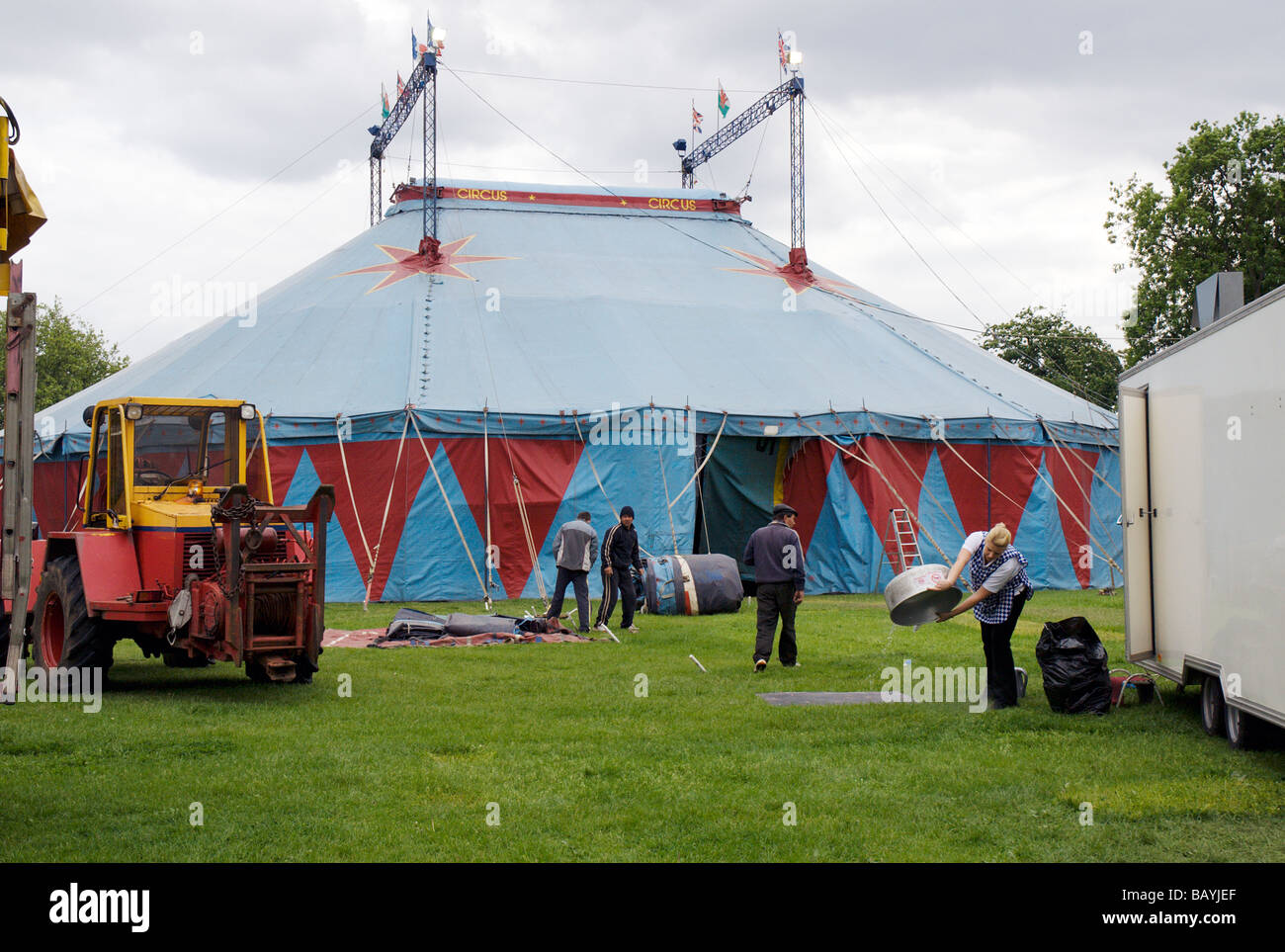 Big Top tent traveling circus in a London parkHackneyEnglandGreat BritainUK & Big Top tent traveling circus in a London parkHackneyEngland ...