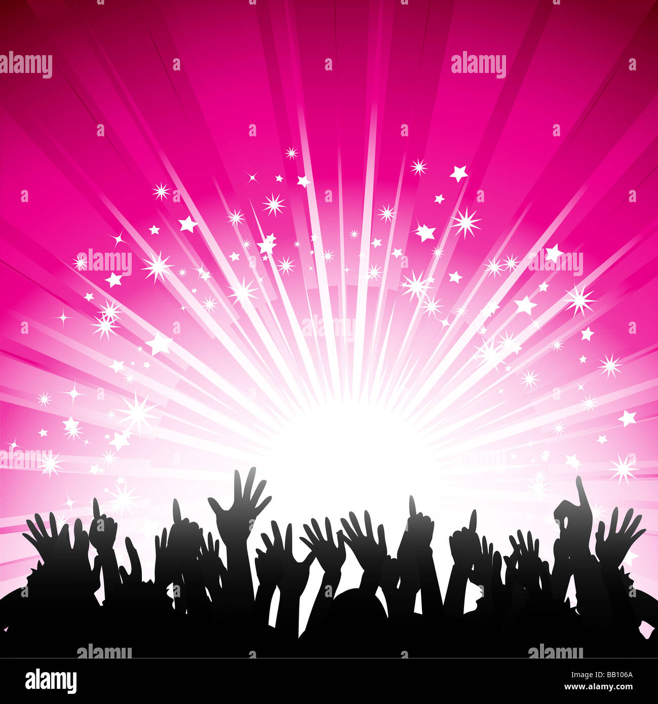 Pics photos rock concert background - Stock Photo Silhouette Crowd Partying In Front Of A Glowing Pink Background With Stars