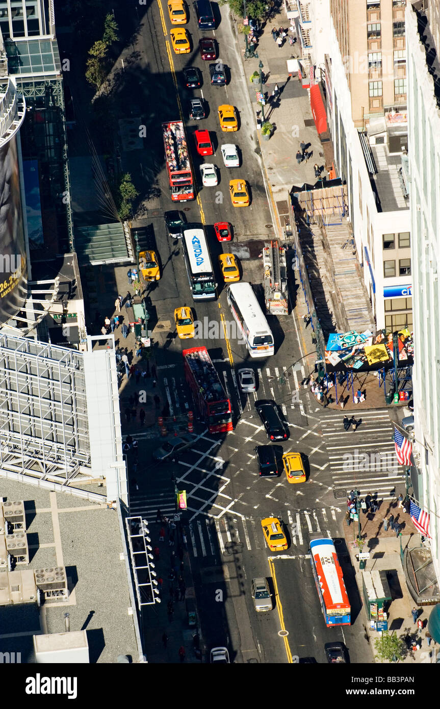 Aerial view of a busy street scene by Macy's Department ...