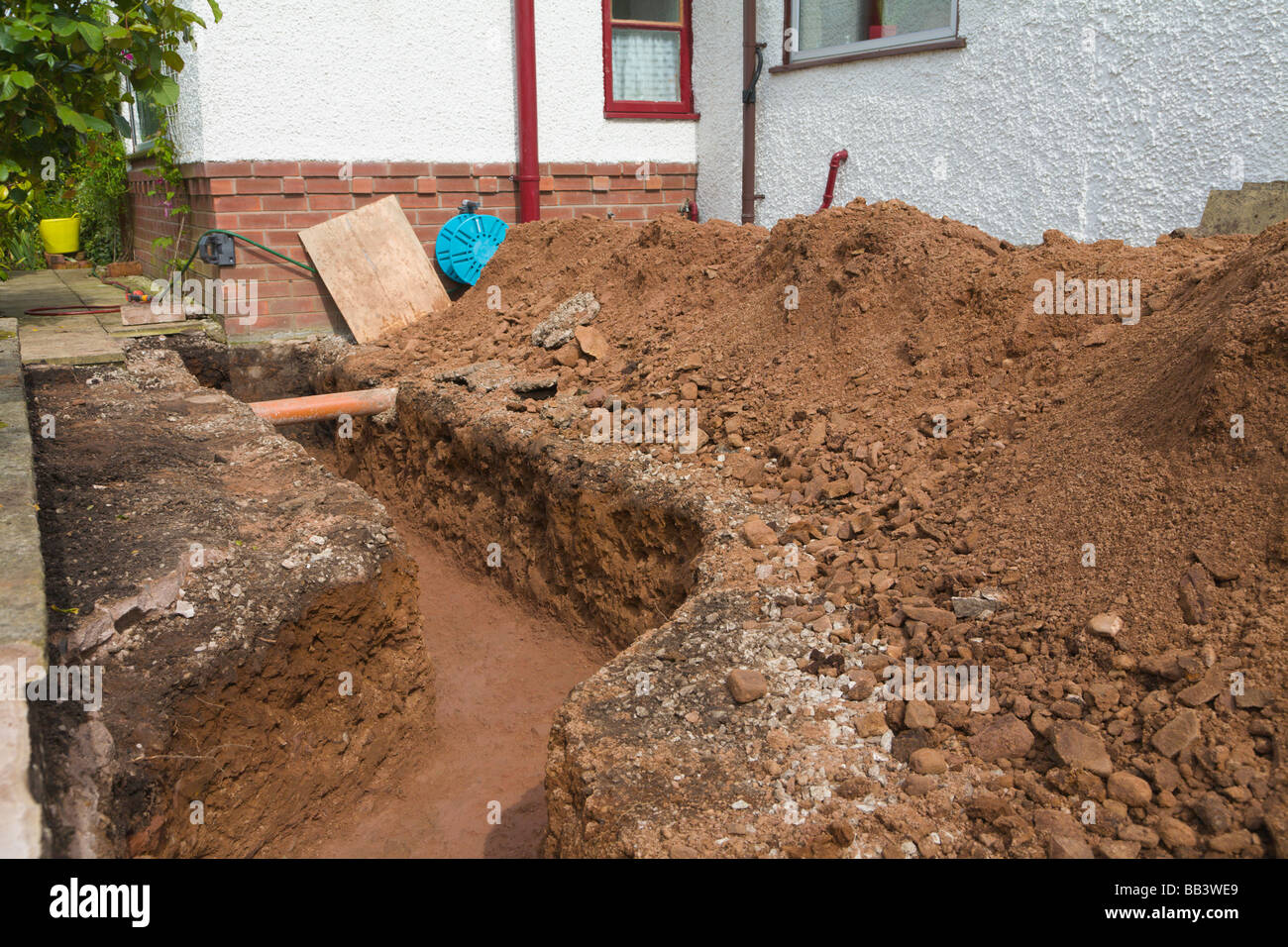 Trench For Footings On A House Extension Stock Photo
