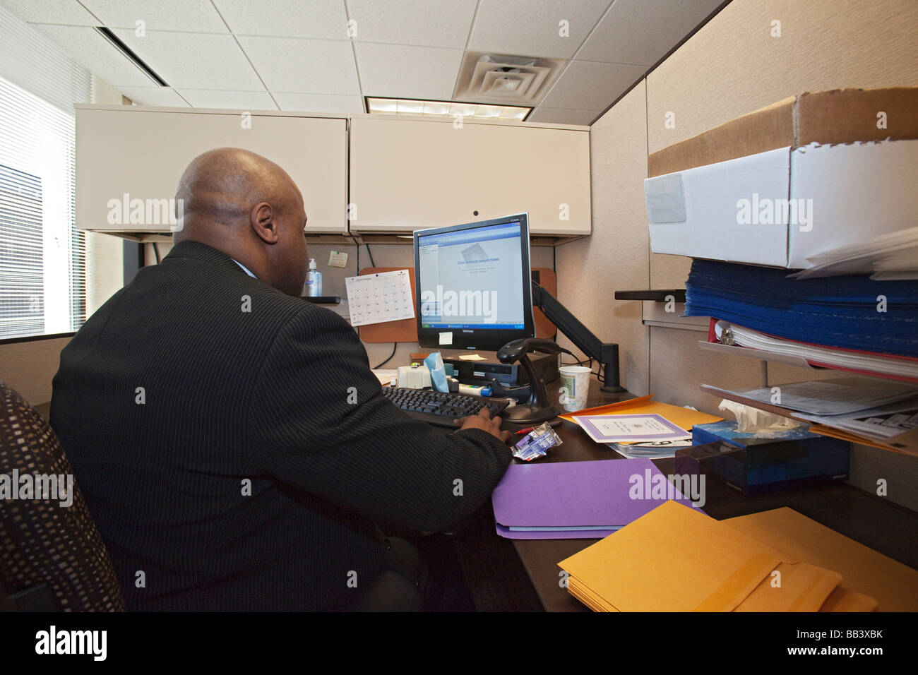 Detroit Michigan A Worker Processes Applications For Passports At The  Detroit Passport Agency Stock Image