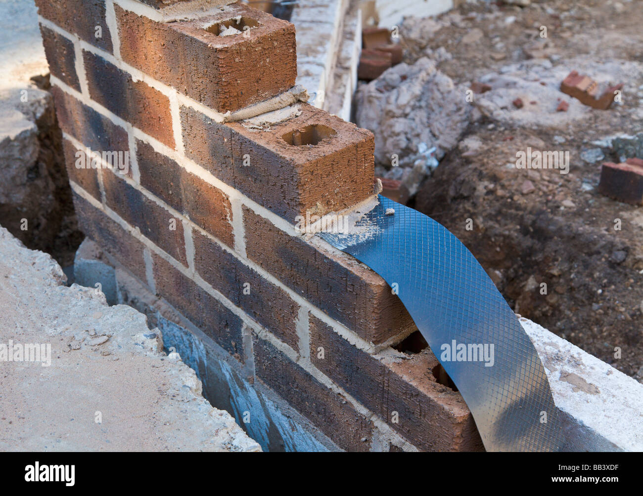 Damp Proof Membrane Being Built Into A Brick Wall House Extension Stock Photo Royalty Free