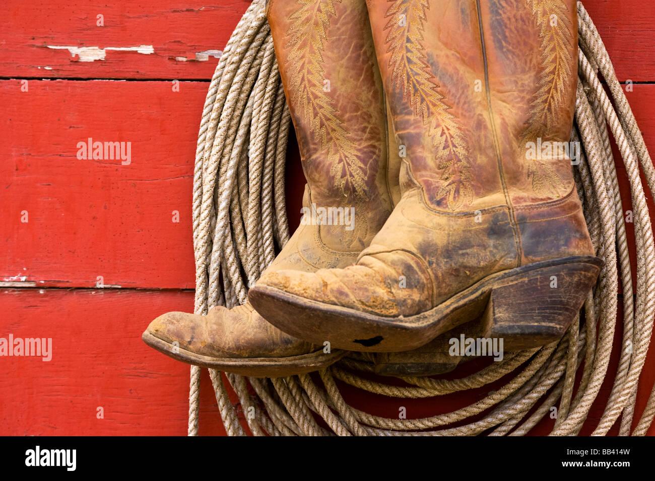 lasso cowboy close up stock photos lasso cowboy close up stock usa oregon seneca ponderosa ranch close up of cowboy boots and