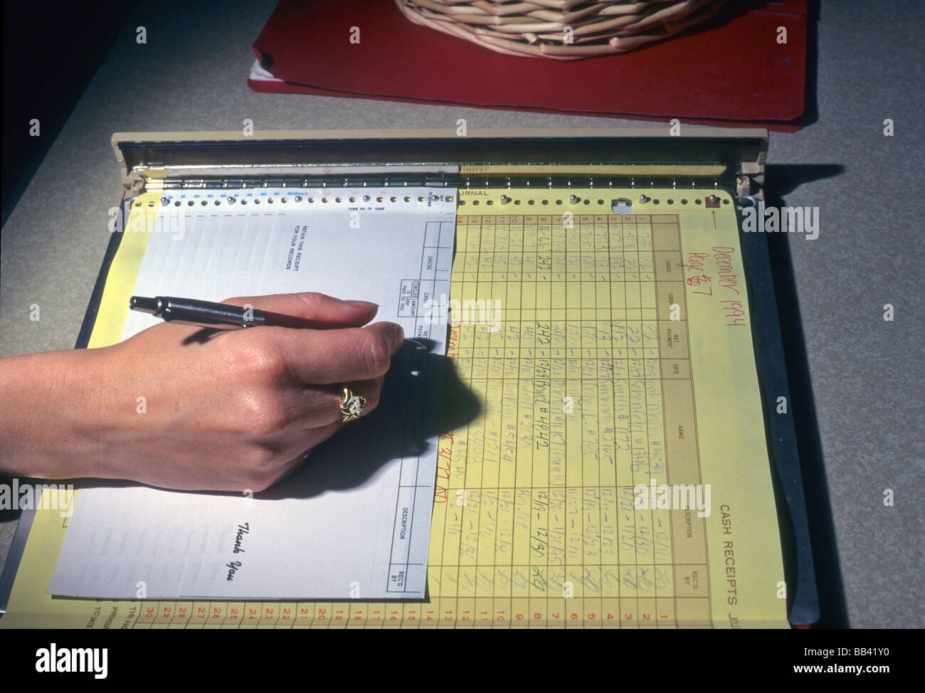 Hand write receipt form record account pen pencil pay detail – Payroll Receipt