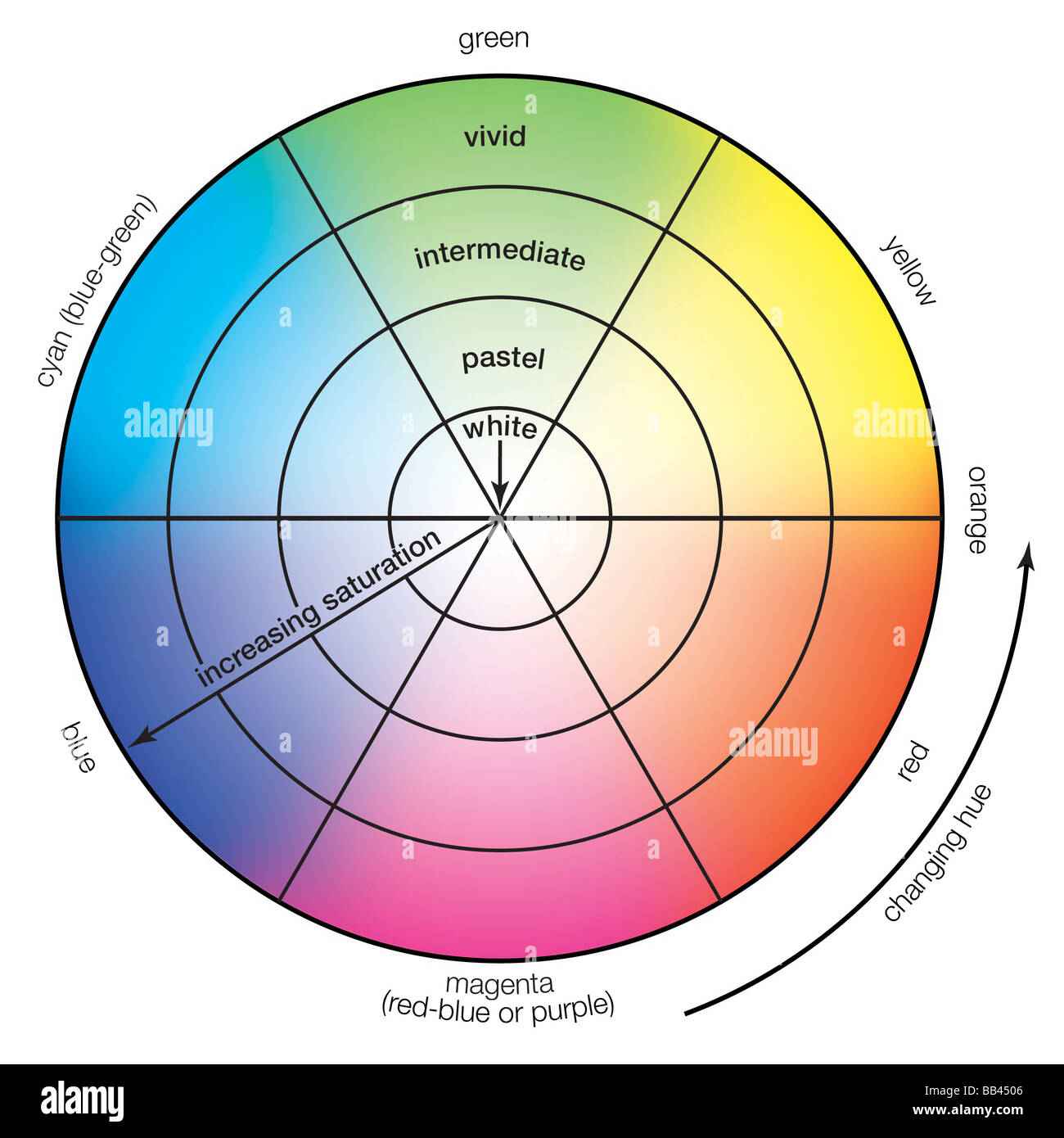 Colour Wheel Demonstrating Hue And Saturation Changes Perceived Together They Make Up The Chrominance