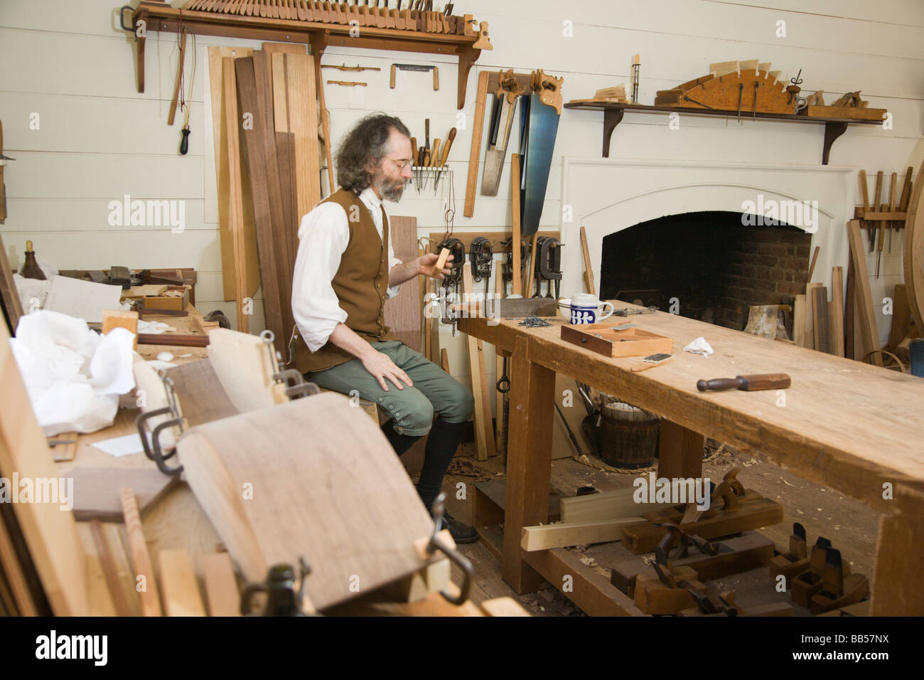 Cabinet maker's workshop in Colonial Williamsburg, Virginia Stock ...