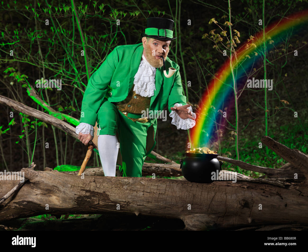 funny leprechaun stealing a pot of gold in a forest artistic st