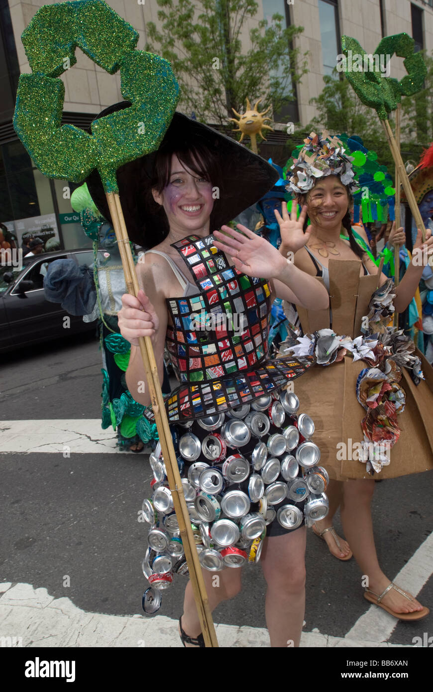 Participants Dressed In Recycling Costumes March In The
