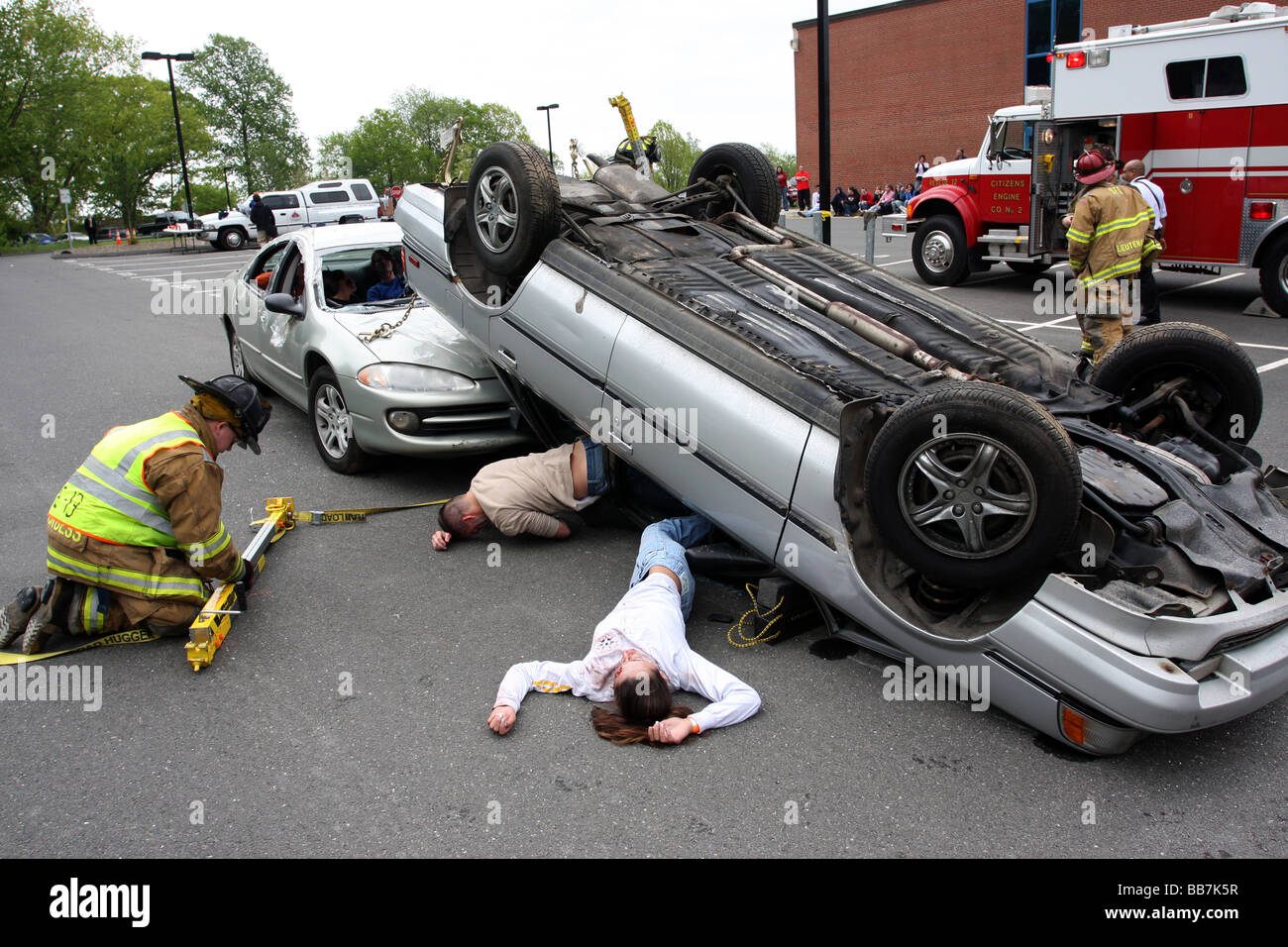 A fake dui car crash stock image