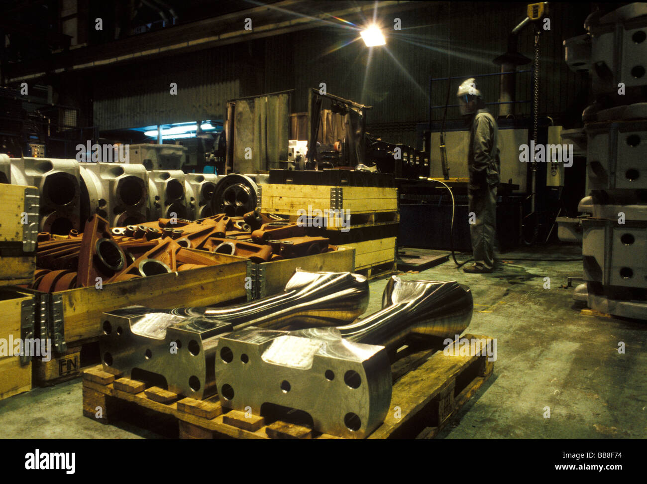 Modern Cruise Ship Building Diesel Engine Components Stock Photo - Cruise ship builders