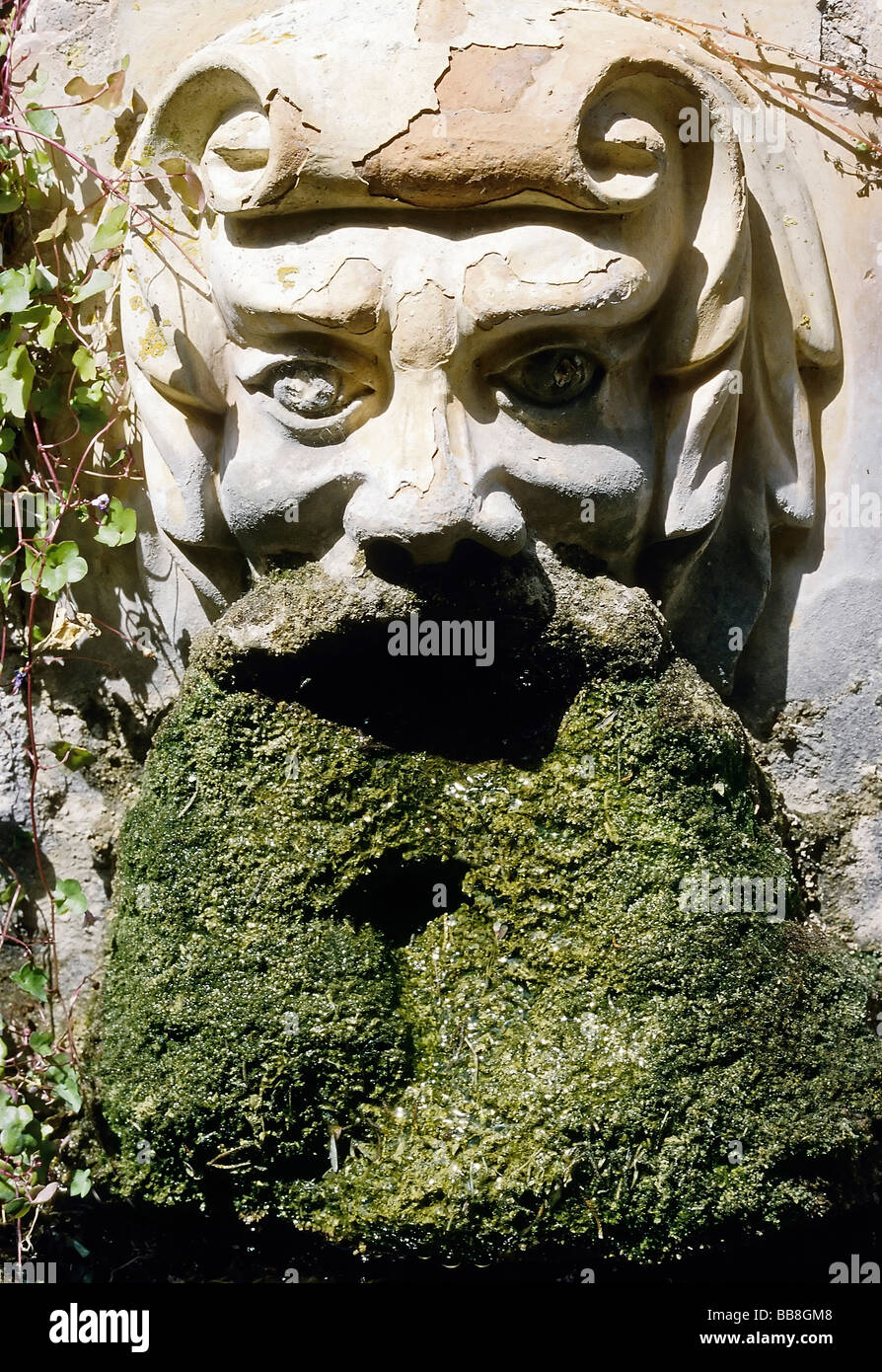 Incredible La Raixa Gardens Water Spout Face With A Beard Of Moss Near Short Hairstyles For Black Women Fulllsitofus