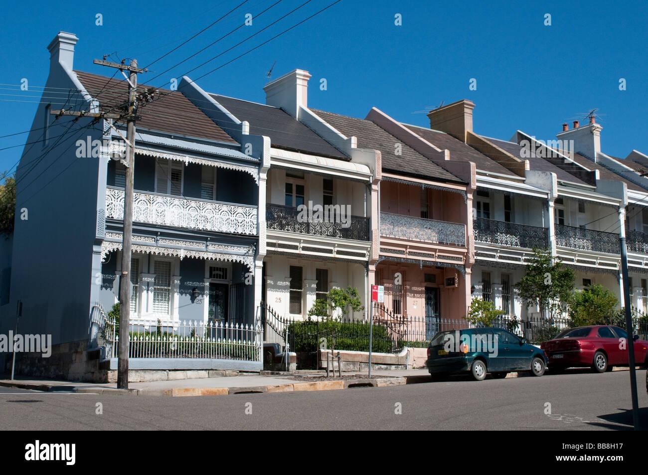 A row of victorian terrace houses in the paddington suburb sydney australia stock