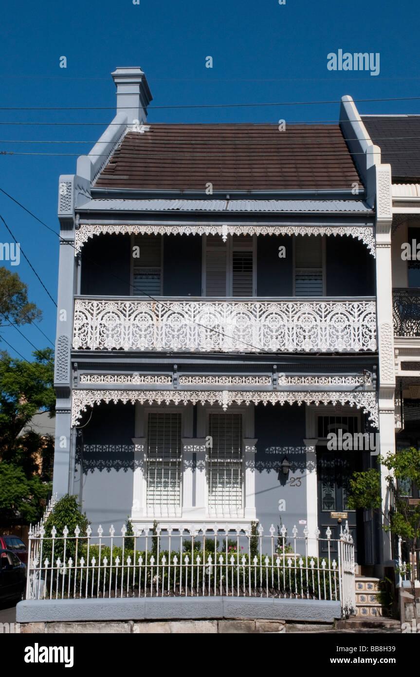 Victorian terrace houses paddington sydney nsw australia stock photo
