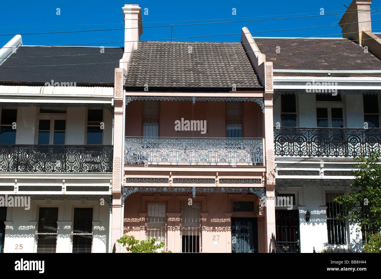 Stock photo victorian terrace houses paddington sydney nsw australia