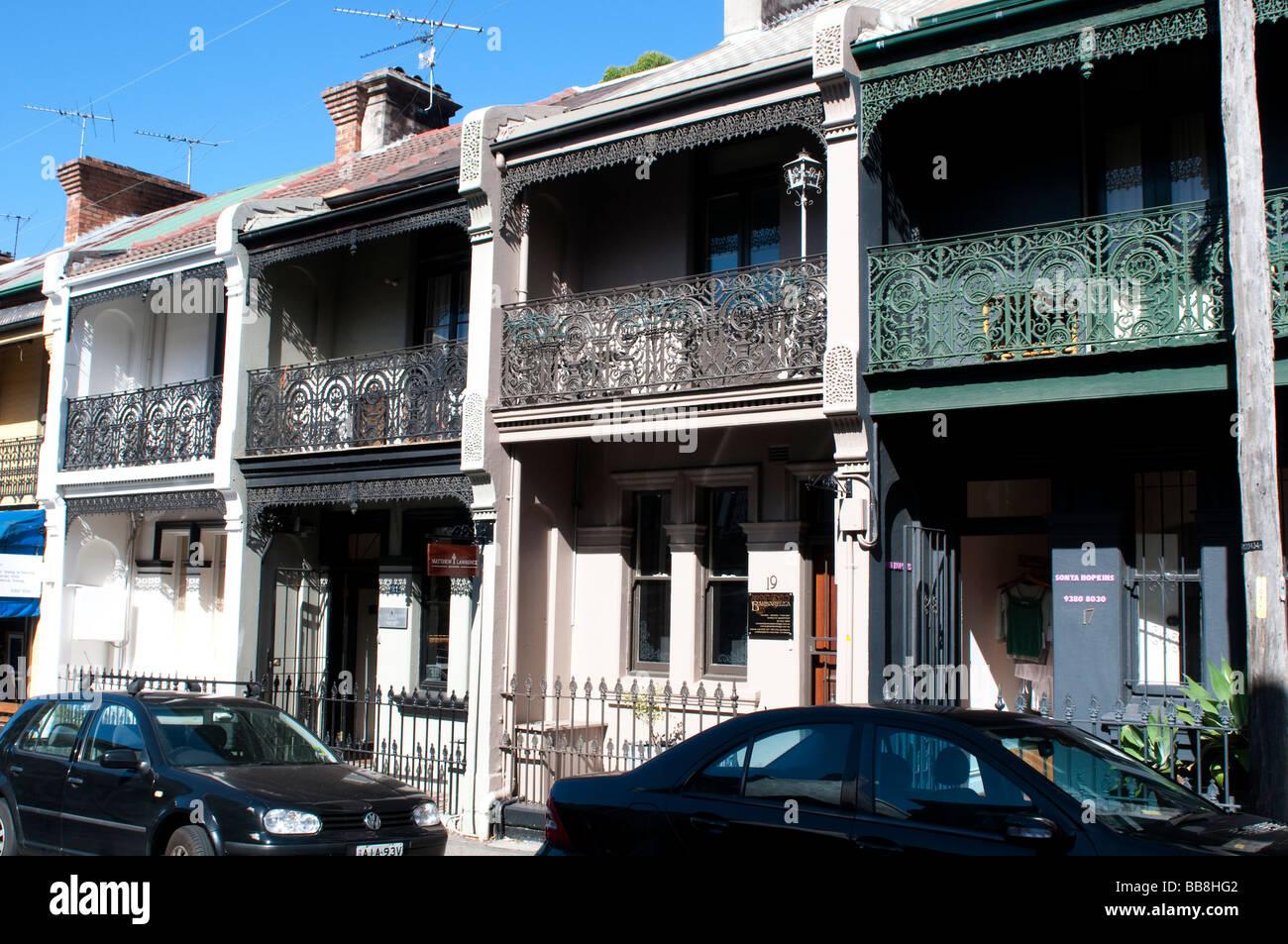 Victorian terrace houses paddington sydney nsw australia stock image