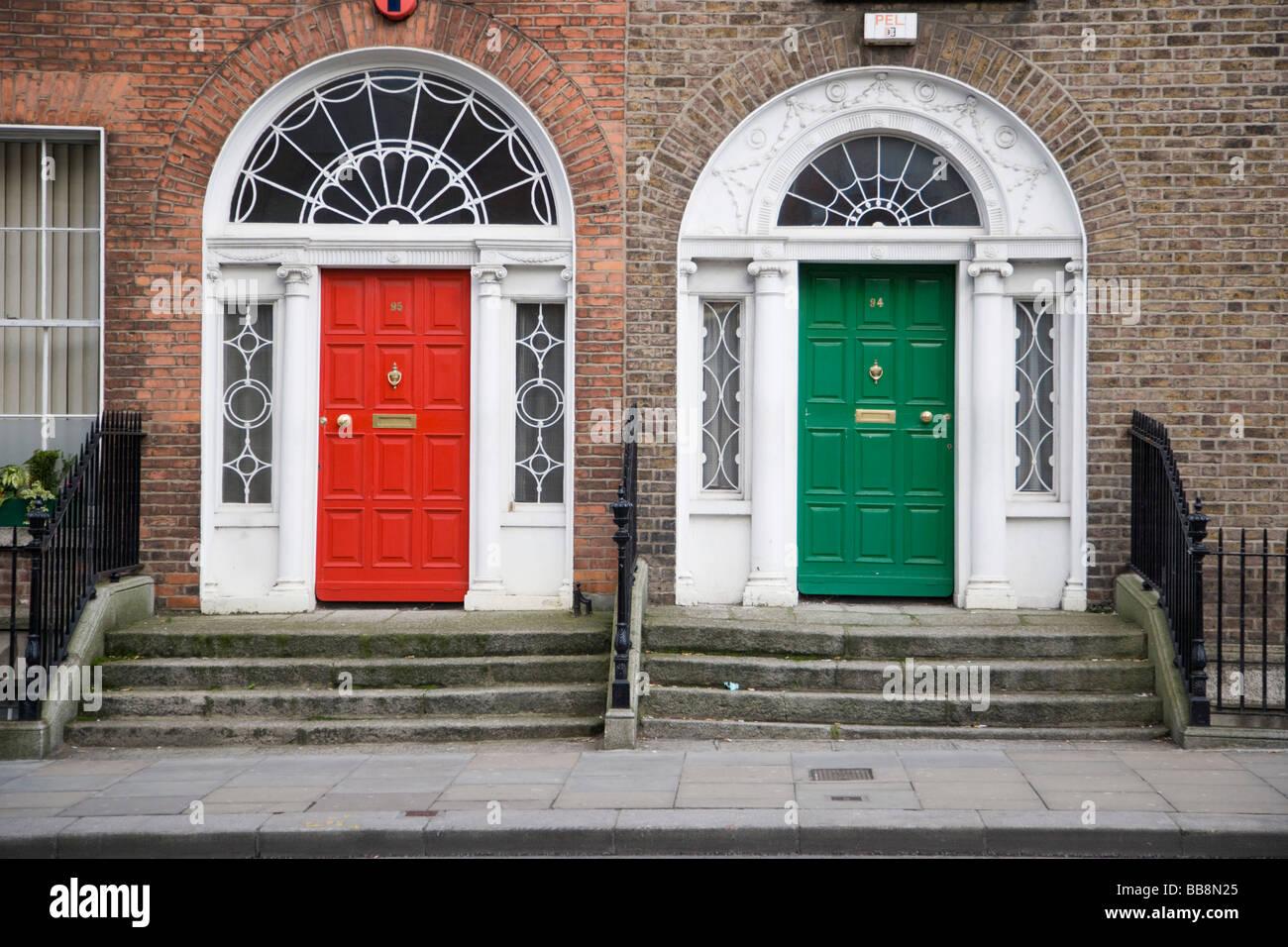 Door entrances of two Georgian houses at Lower Leeson Street Dublin Ireland & Door entrances of two Georgian houses at Lower Leeson Street Dublin ...