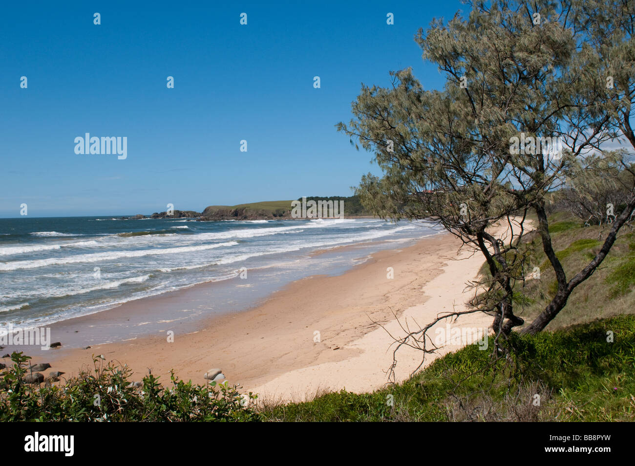 Rain Beach Emerald Coast Blue Sea Australia Ocean Summer: Emerald Beach Coffs Harbour Region NSW Australia Stock