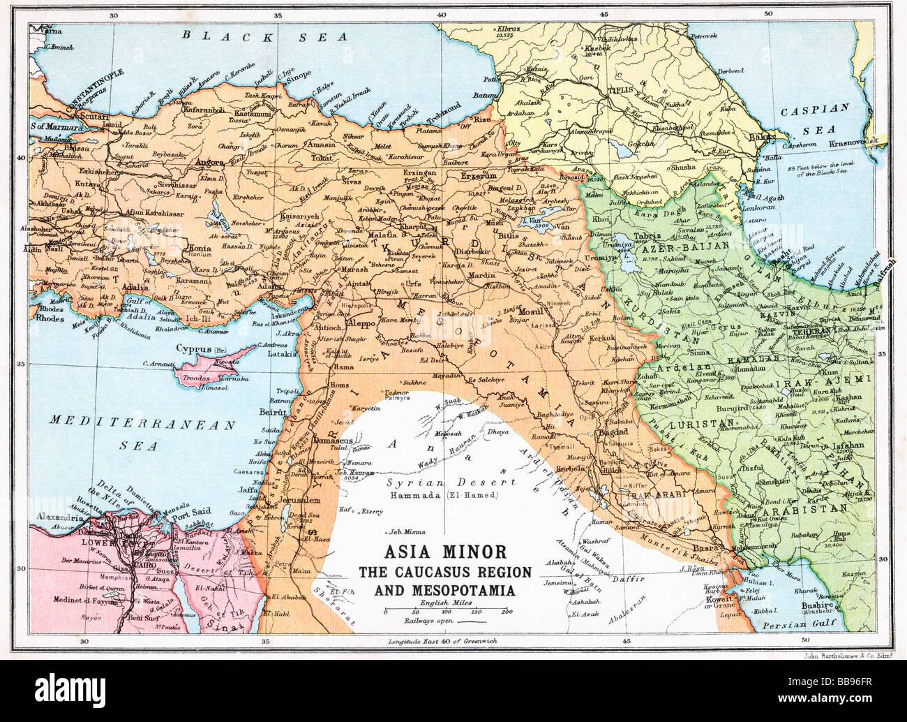 Map Of Asia Minor And Caucasus Region And Mesopotamia At Beginning - Caucasus map