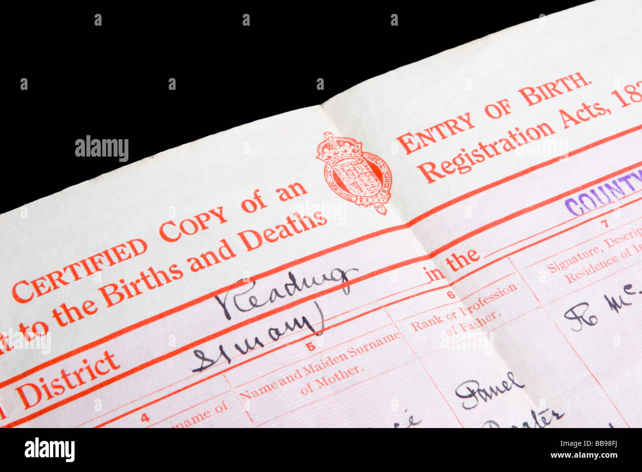 Copy of a uk birth certificate stock photo royalty free image copy of a uk birth certificate aiddatafo Choice Image
