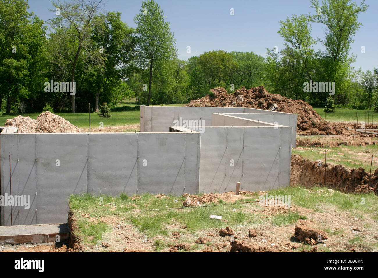 Poured Concrete Basement Walls On New Home Construction