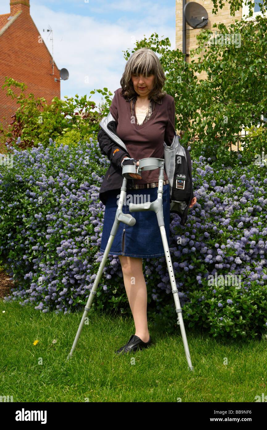 Leg Amputee Woman Crutches