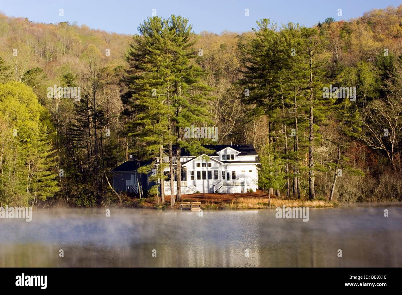 Lake house on Deer Lake Brevard North Carolina Stock Photo