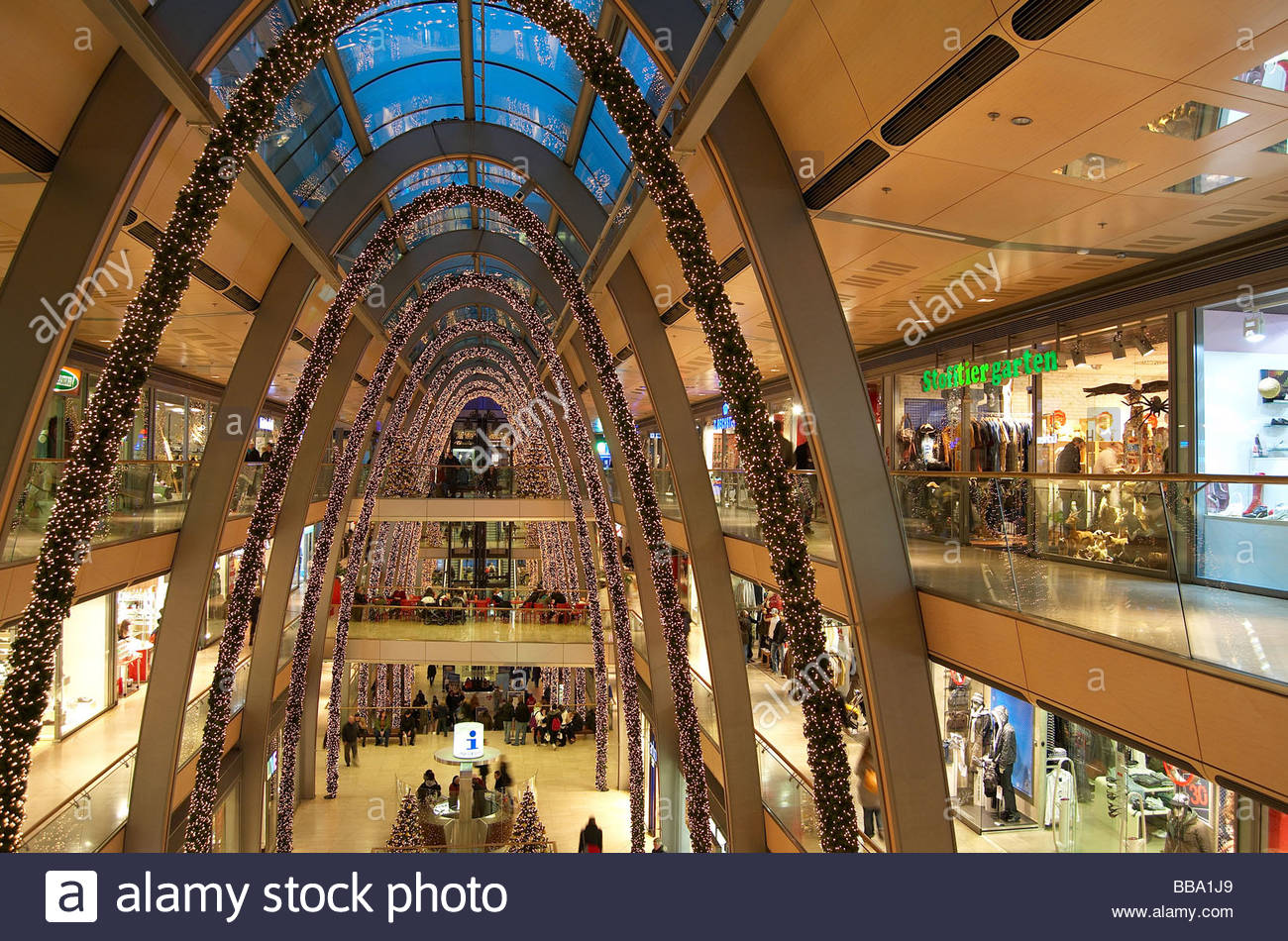 the shopping mall europa passage during christmas time in hamburg stock photo royalty free. Black Bedroom Furniture Sets. Home Design Ideas