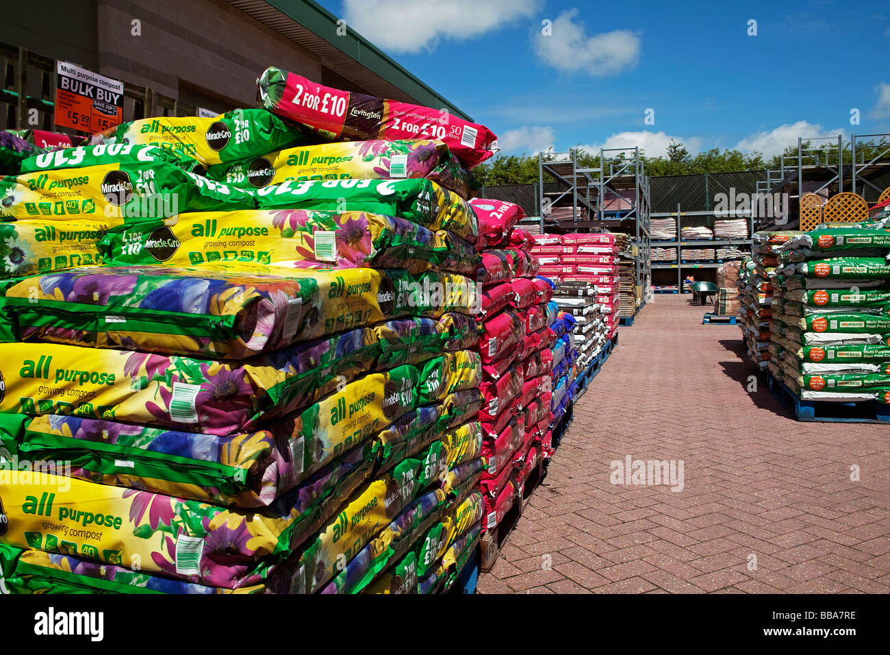 stock photo grow bags and compost for sale at a garden centre in cornwalluk