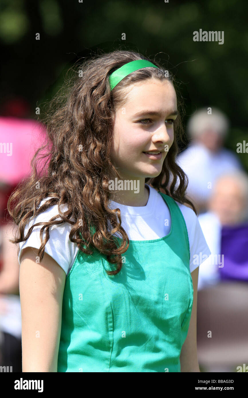 Teenage Girl With Long Blond Hair And Blue Eyes Troutdale: Young Irish Teenage Girl Wearing A Traditional Dancing