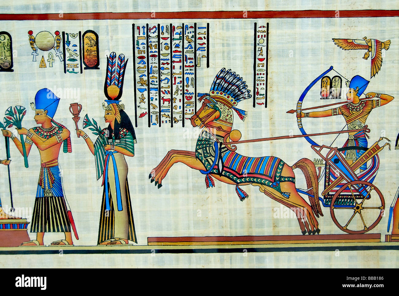New egyptian paintings from pharaonic times on papyrus for Egyptian mural paintings
