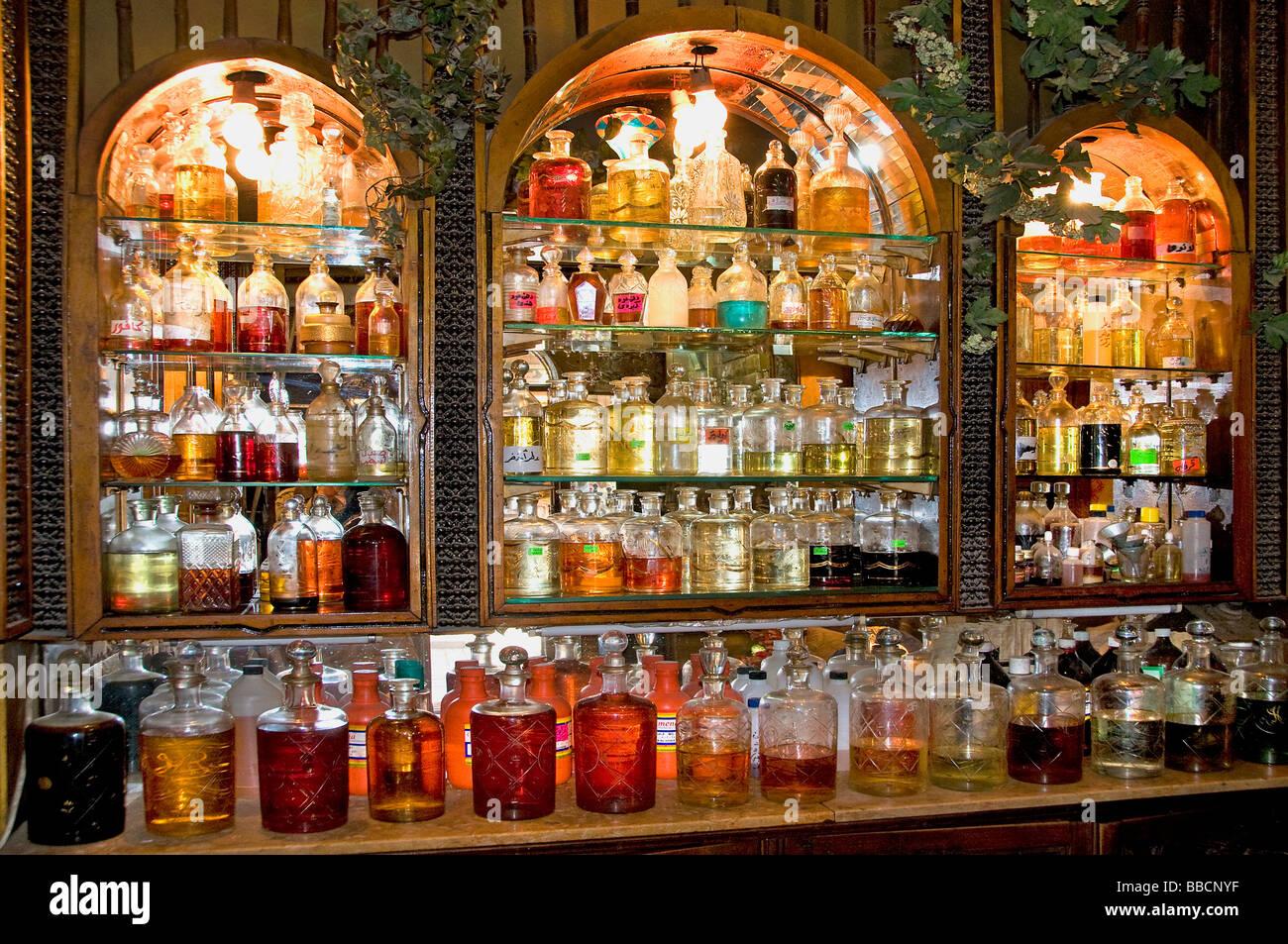 Khan El Khalili Cairo Egypt Bazaar Perfume Bottle Stock